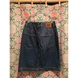 VINTAGE 1980's 90's blue denim jean pencil skirt